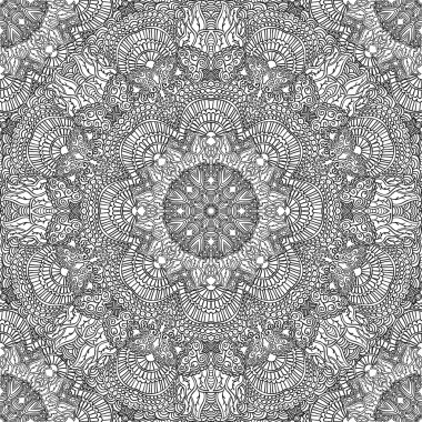 Monochrome seamless pattern in ethnic style. Hand drawn black doodle ornament on a white background.