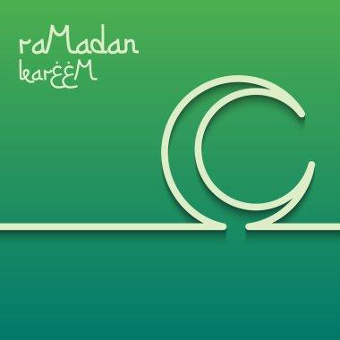 Concept card for ramadan kareem celebration. Bright green background. The inscription Ramadan Kareem.