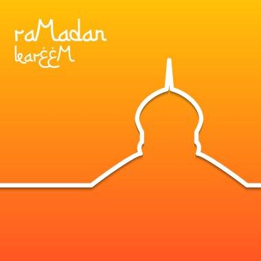 Template design concept card for ramadan kareem celebration. Bright orange background. The inscription Ramadan Kareem.