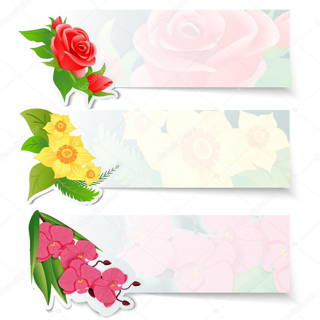 Set of three colorful web banners with different flowers. Red roses bud, yellow daffodils and pink orchid.