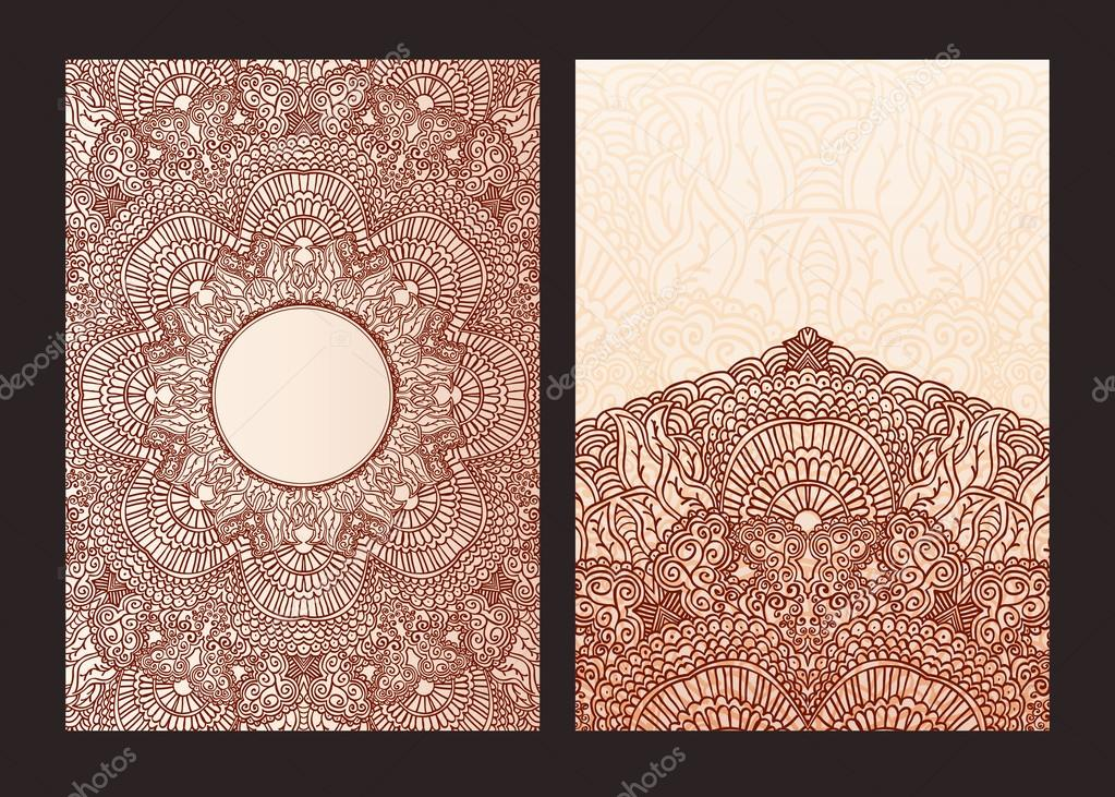 Henna Mehndi Vector : Set of ethnic template for design wedding invitations and greeting