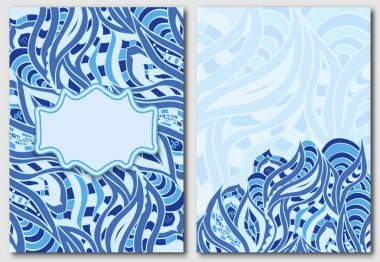 Set of template for design invitations and greeting cards. Abstract doodle element in blue. Indian motif painting.