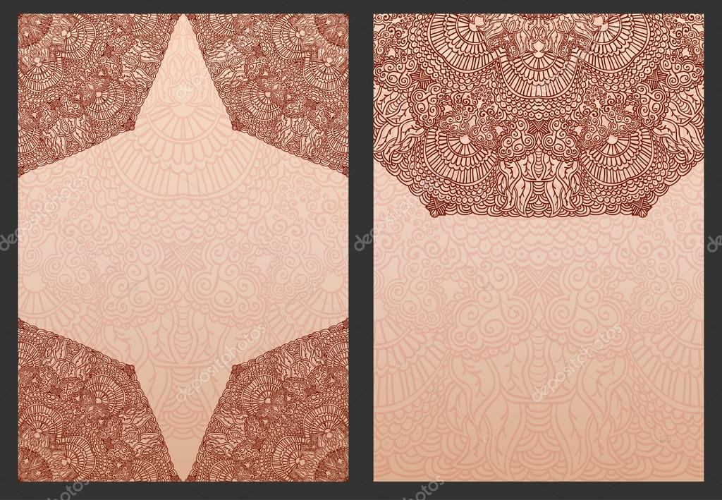 Henna Mehndi Vector : Set of exotic template for design wedding invitations and greeting