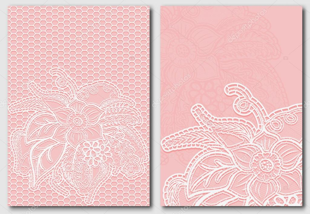 Set of lace template for design invitations and greeting cards ...