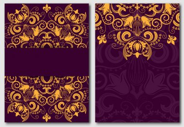 Set of ornate template for design invitations and greeting cards. Gold flower mandala on a purple background in the Damascus style.