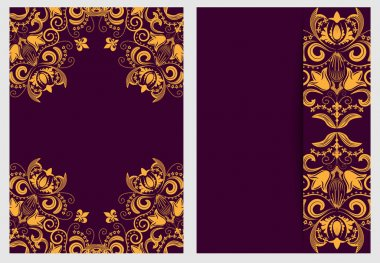 Set of nifty template for design invitations and greeting cards. Ornate elegant pattern gold on purple in Damascus style.