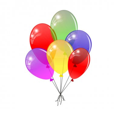 Transparent balloons. Multicolored balloons gathered in a bunch.