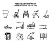 Fotografie Set of icons on accessible environment for people with disabilities.