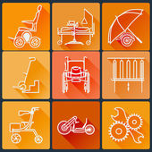 Fotografie The equipment for people with disabilities. Set of bright icons flat in a fashionable style with long shadows in orange tones.