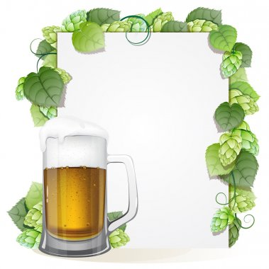 Hops branch and beer glass