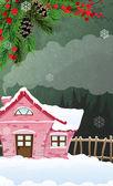 Fotografia casa di mattoni nella foresta invernale
