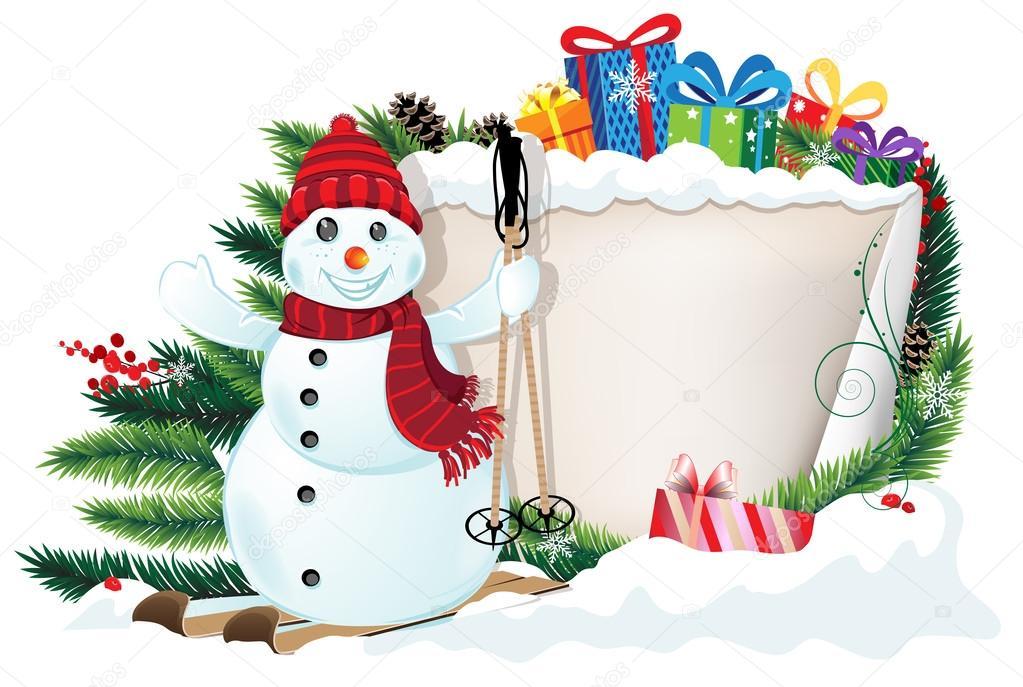 Schneemann auf Ski und Weihnachtsgeschenke — Stockvektor © stekloduv ...