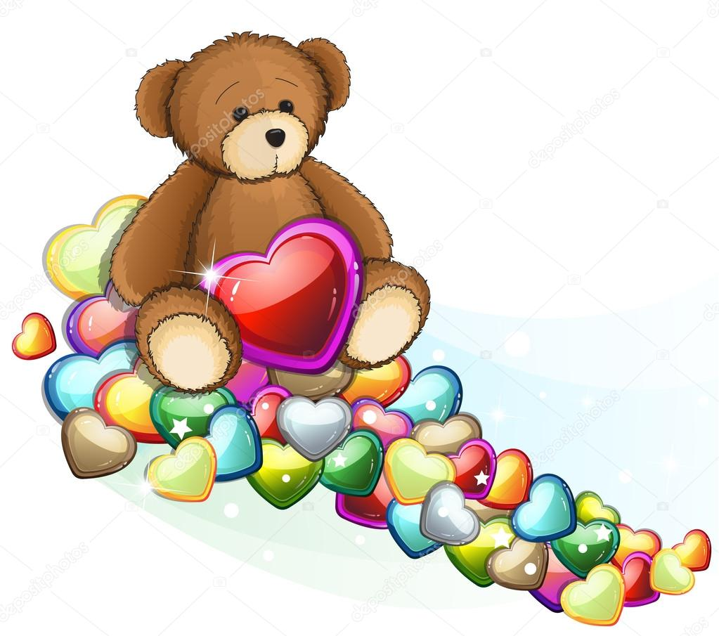 Teddy bear with Valentine hearts on white background. clipart vector