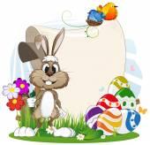 Fotografie Hase mit Blumen und Ostereier