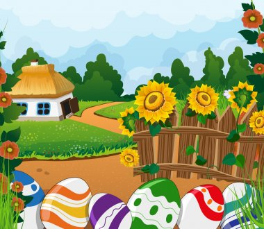 Rural landscape with house and painted Easter eggs