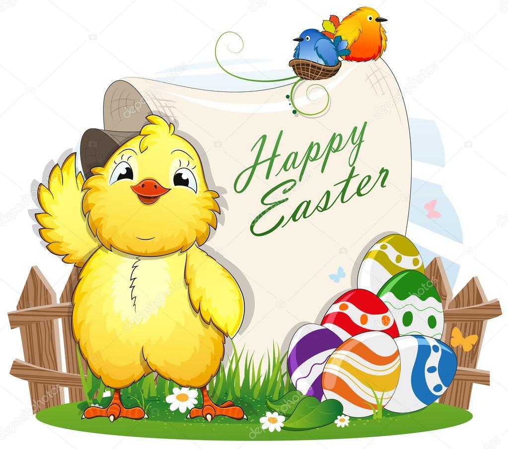 Maly Kurczak I Jaja Wielkanocne Z Papieru Przewin Grafika