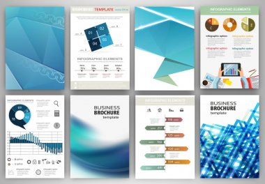 Blue business backgrounds and abstract concept infographics