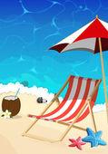 Fotografie Strand mit Liegestuhl und Sonnenschirm