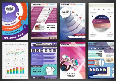 Business brochure template, abstract concept infographics and ic