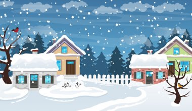 Winter village scene