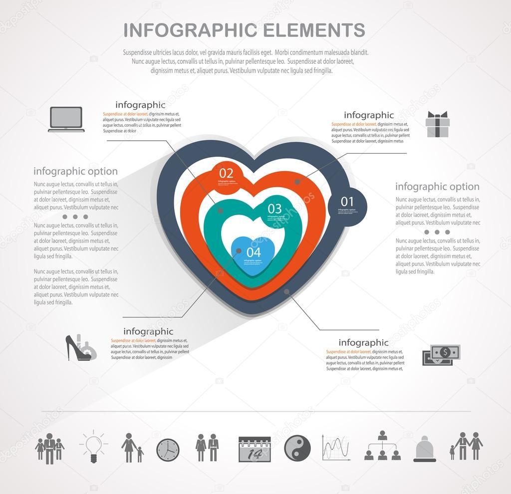 Valentinstag Herzen Infografiken — Stockvektor © stekloduv #97127720