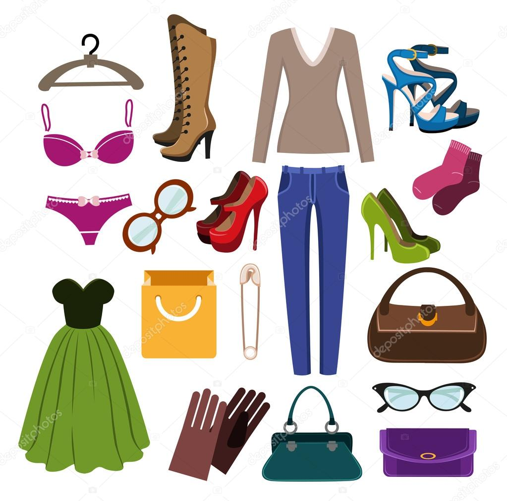 8afe48496 Roupas, calçados e acessórios — Vetor de Stock © stekloduv #98996350