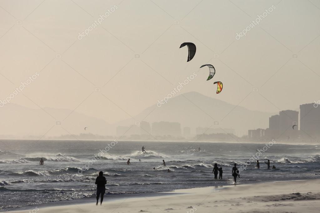 Kitesurf at beach Barra da Tijuca