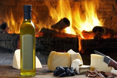 olive oil and various cheeses