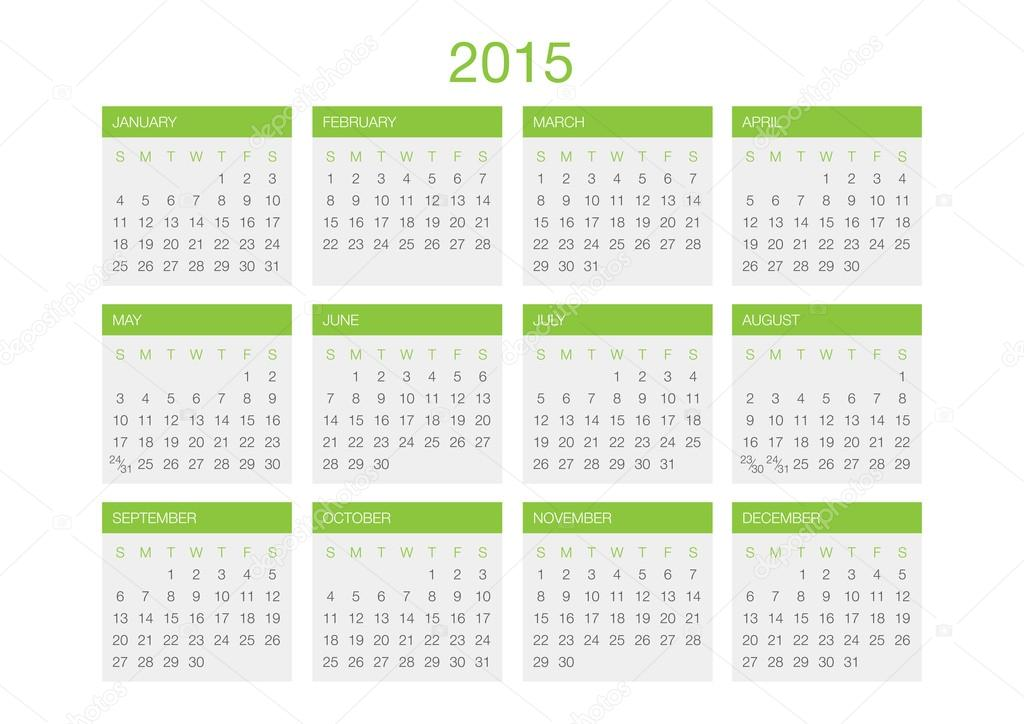 plantilla vector calendario 2015 — Vector de stock © urazovsky.oleg ...