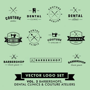 Retro Vintage Hipster Barbershop, Couture Atelier and Dental Clinic Vector Logo Set