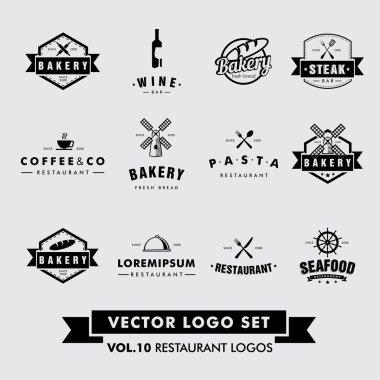 Retro Vintage Hipster Restaurant Vector Logo Set