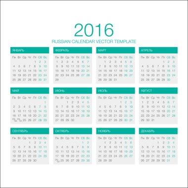 Russian Calendar Vector 2016