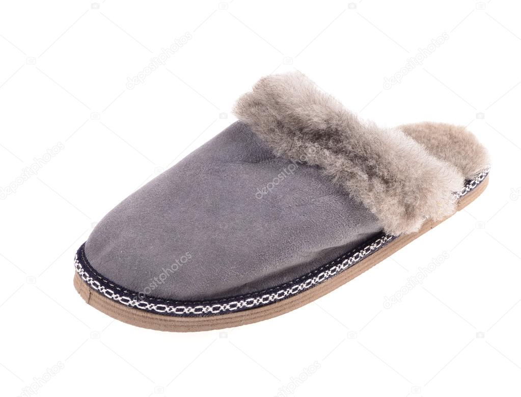 d5013e81cce0e Gray suede winter slipper on isolated on white backgroun — Photo by ...
