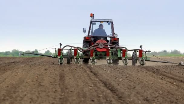 Tractor sown with corn planter
