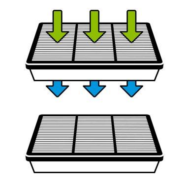 air filter flow symbols