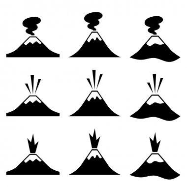 active erupting volcano pictograms