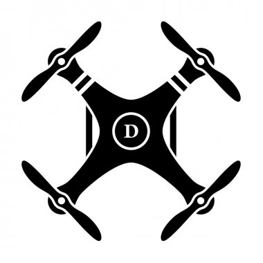 Rc drone quadcopter black symbol
