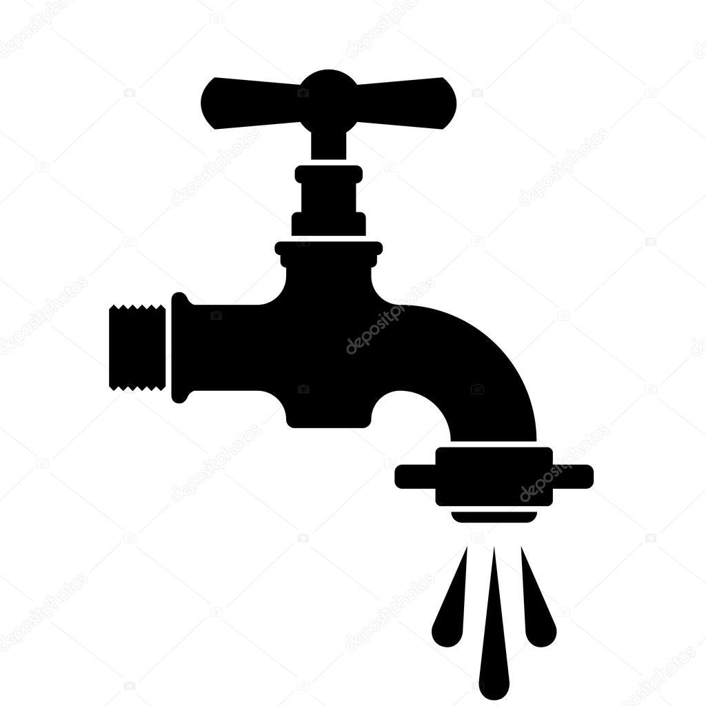 retrowasser wasserhahn wasserhahn symbol — stockvektor  ~ Wasserhahn Zeichen Spülmaschine