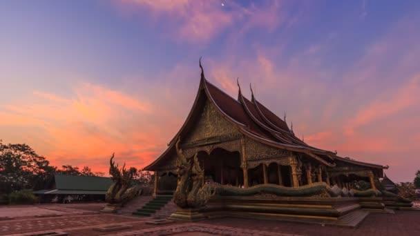 Time Lapse Sunrise Sirindhorn Wararam Phu Prao Temple (Wat Phu Prao) Landmark Travel Place Of Ubon Ratchathani, Thailand (tilt down)