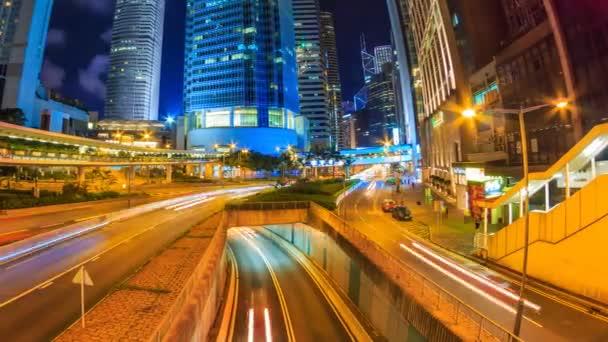 Hong Kong v noci panoráma časová prodleva (pan zastřelil)