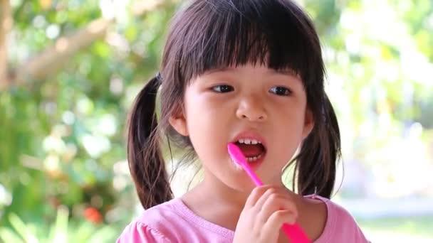 Cute Asian Girl Brushing Teeth (No Toothpaste)