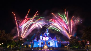 Cinderela Castle And The Famous Stars Firework Show Of Hong Kong DisneyLand