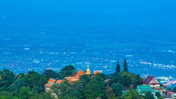Time Lapse Wat Phra That Doi Suthep On Mountain Of Chiang Mai, Thailand (pan down)