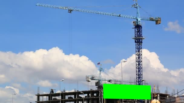 time lapse construction site and mini billboard green screen