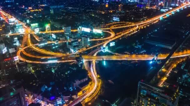 Time Lapse Night Cityscape Of Bangkok City, Thailand (tilt up)