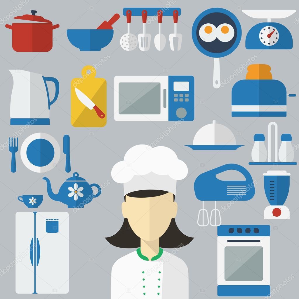 Iconos de concepto de diseño plano de utensilios de cocina ...