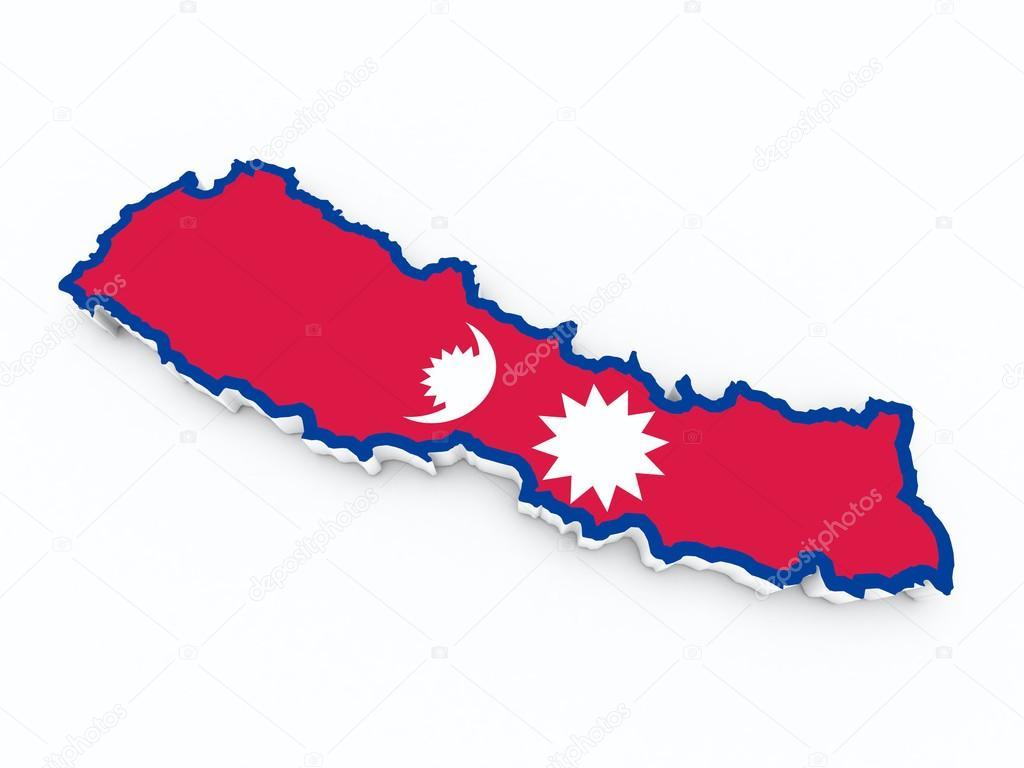 Nepal-Flag auf 3d Karte — Stockfoto © godard #74053227