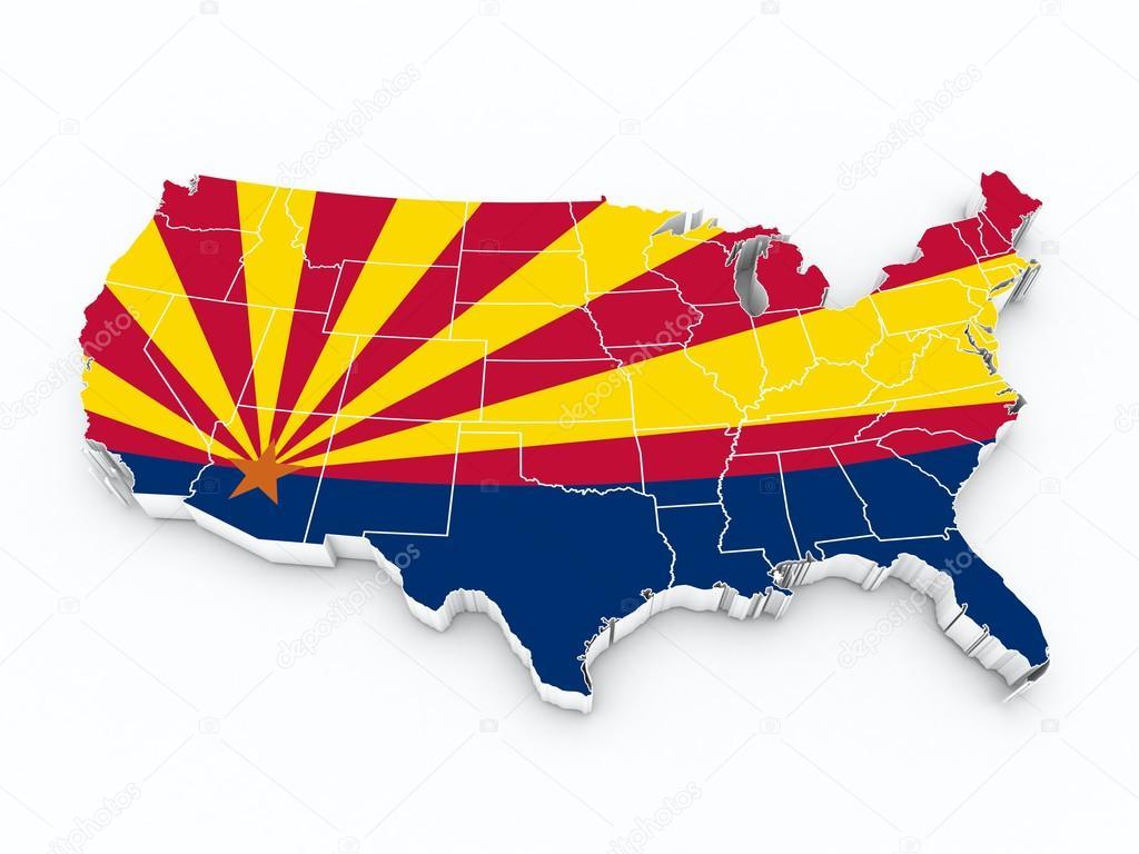 Arizona State Map Free.Usa Map With Arizona State Flag Stock Photo C Godard 86869008