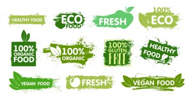 Organic, eco food, vegan, fresh, healthy and gluten free stickers with effect green paint. Organic food labels and healthy foods badges. Stamp and stickers food, vegan, ecological, diet. Vector pack icon