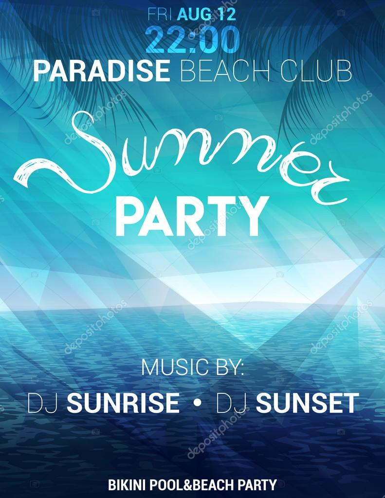 summer party poster flyer with seascape on a polygonal background